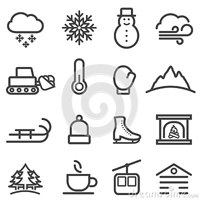 Free Winter And Snow Line Icons Stock Photos - 130728273