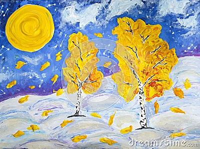 Winter and autumn Stock Photo