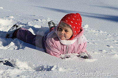 Winter baby in snow