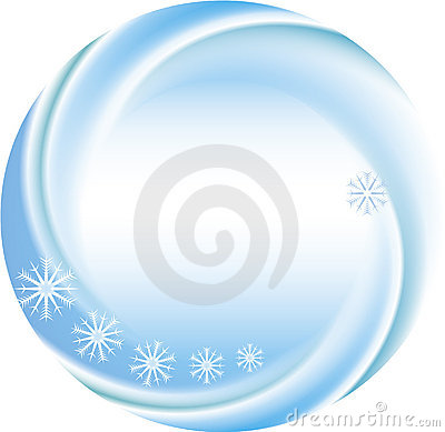 Winter background as a round frame with snowflakes