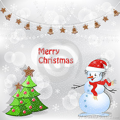 Winter background. Christmas tree and snowman.