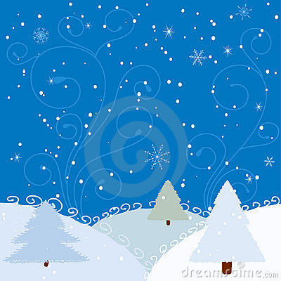 Winter background with firs