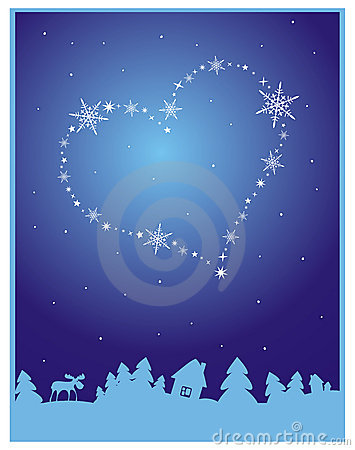 Winter background with heart in the sky
