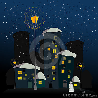 Winter background with illustrated city