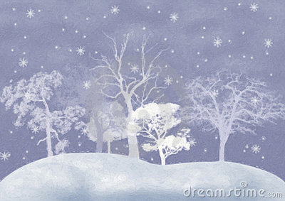 Winter background with snow-covered trees.
