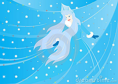 Winter background with the Snow Queen