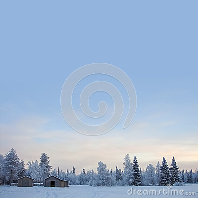 Free Winter Background With Cabin And Copyspace On Sky Royalty Free Stock Image - 29147386