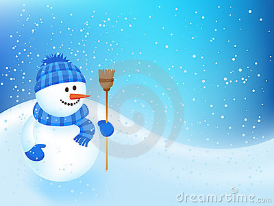 Winter backgroung with a snowman