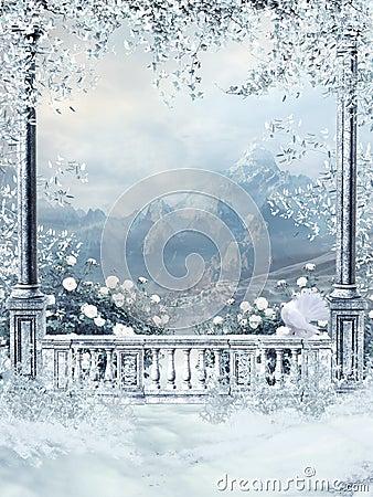 Free Winter Balcony With Vines Stock Image - 22256451