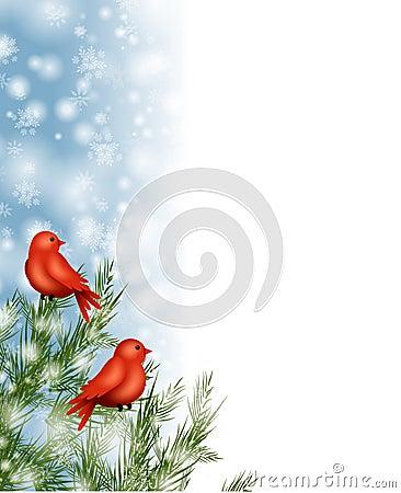 Winter Birds Snow Border