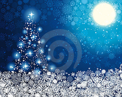Winter blue background with Christmas Tree.