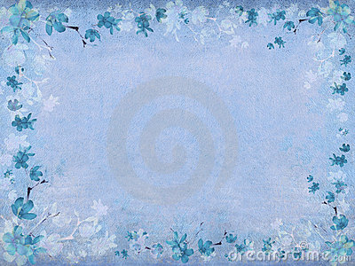 Winter blue blossom flower border