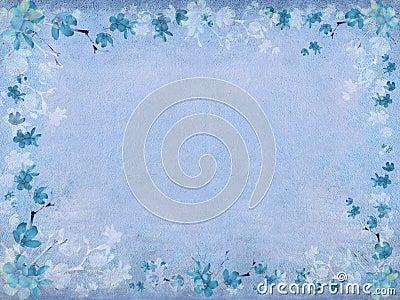 Winter blue blossom flower border