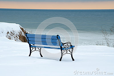 Winter blue park bench: shades of blue