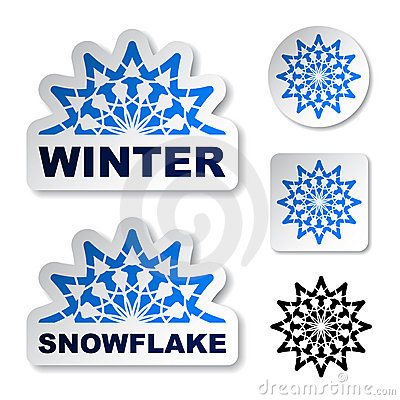 Winter blue snowflake stickers