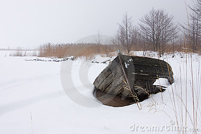 Winter boatwreckage