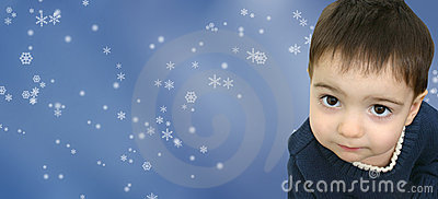 Winter Boy Child on Snowflake Background