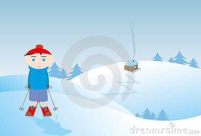 winter boy skiing