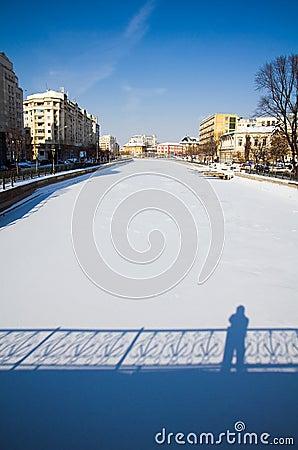 Winter in Bucharest - Dambovita river