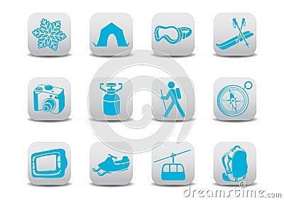 Winter camping/ski icons