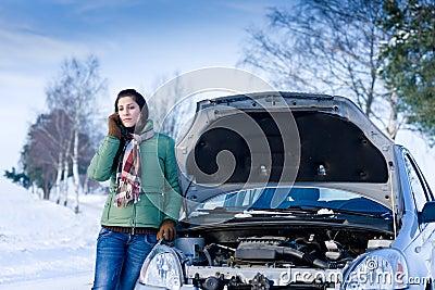 Winter car breakdown - woman call for help