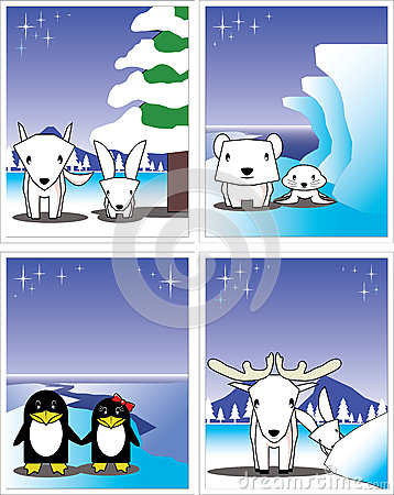 Winter card, polar bear, penguin, fox, rabbit