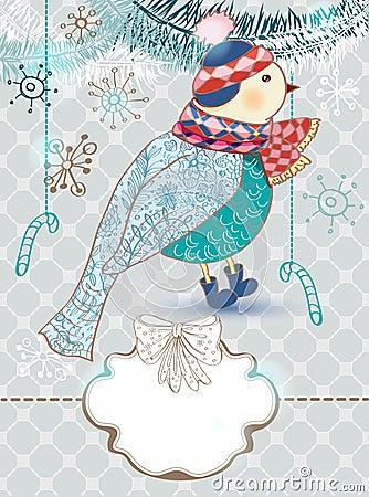 Winter cartoon background with cute bird