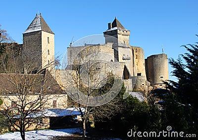 Winter at Castelnaud Castle in Dordogne France