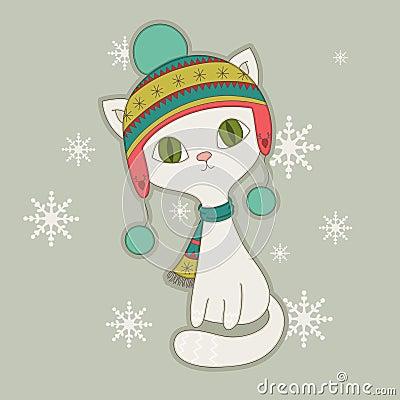 Free Winter Cat Stock Image - 35037221