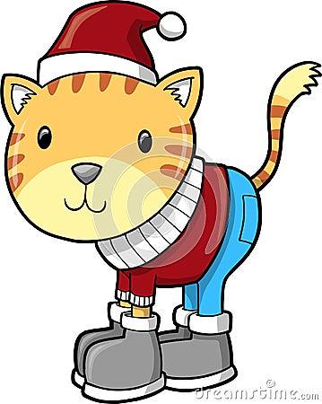 Winter Cat Vector Illustration