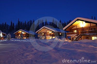Winter Chalet s in Twilight