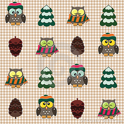Winter checked pattern with cute owls