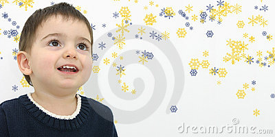 Winter Child Boy on Snowflake Background