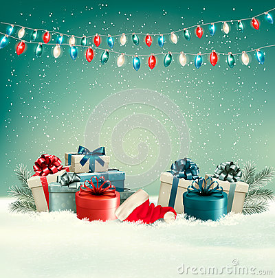 Free Winter Christmas Background With Gifts And A Garland. Royalty Free Stock Photography - 48070647