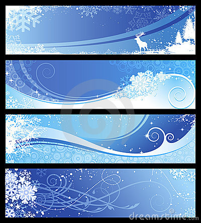 Winter or christmas banners