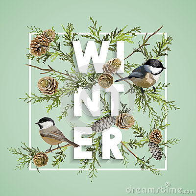 Free Winter Christmas Design In Vector. Winter Birds With Pines Stock Photography - 80499412