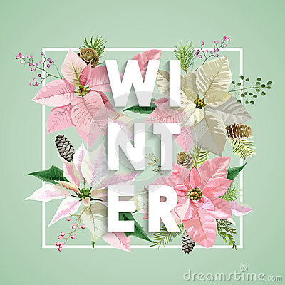 Free Winter Christmas Design In Vector. Winter Flowers With Pines Stock Image - 80499301