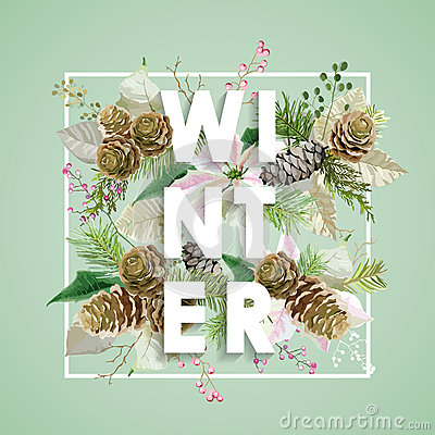 Free Winter Christmas Design In Vector. Winter Flowers With Pines Stock Photo - 80500600