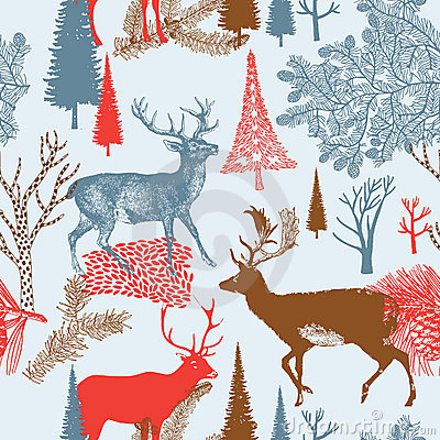 Winter Christmas forest with deers. seamless patt