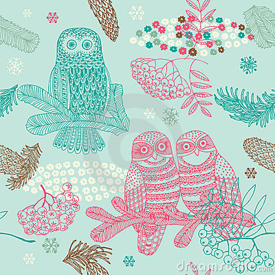 Winter Christmas forest with owl seamless pattern