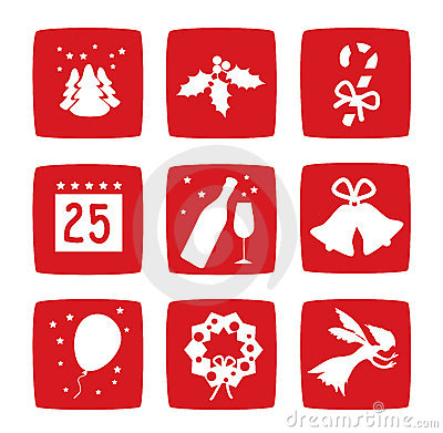 Winter Christmas holidays icons set