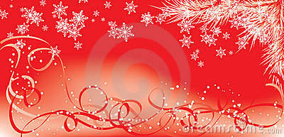 Winter, Christmas red background with snowflakes, vector