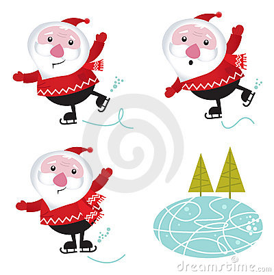 Free Winter & Christmas: Santa Claus Ice Skating Stock Images - 21953024