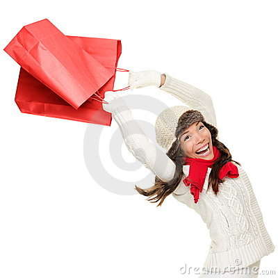 Winter and christmas shopping woman