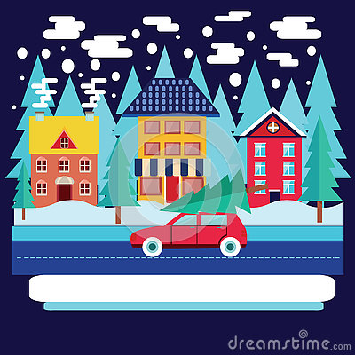 Free Winter City Landscape With Firs In Flat Style. Stock Images - 81202774