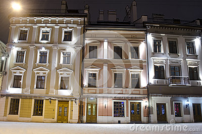 Winter cityscape in the center of Lviv city at the night