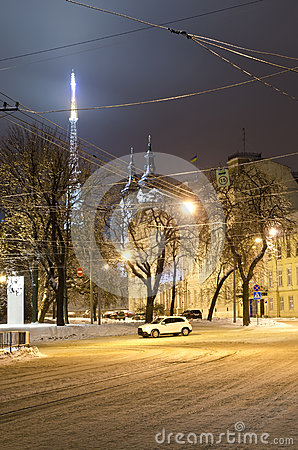 Winter cityscape in the center of Lvov city at the nig