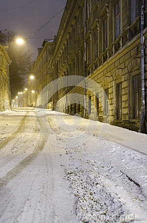 Winter cityscape at the night - old street in Lvov