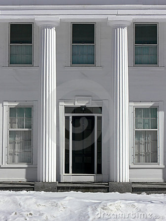 Winter: classical house with columns
