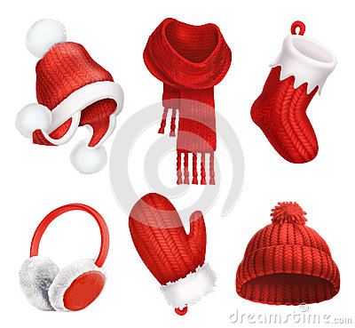 Free Winter Clothes. Knitted Hat. Christmas Sock. Scarf. Mitten. Earmuffs. Vector Icon Royalty Free Stock Photos - 80453268